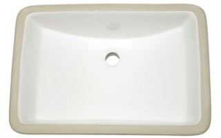 White Rectangle Vanity Undermount Sink