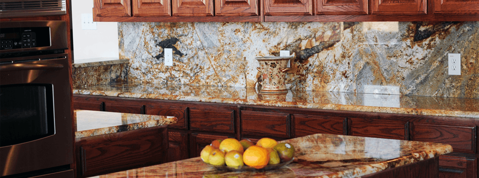 magma gold full backsplash Granite Images   Residential Kitchen Gallery