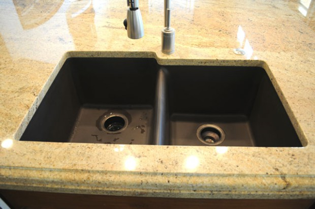 A photo showing an example of an undermounted Granite Composite Undermount Sink