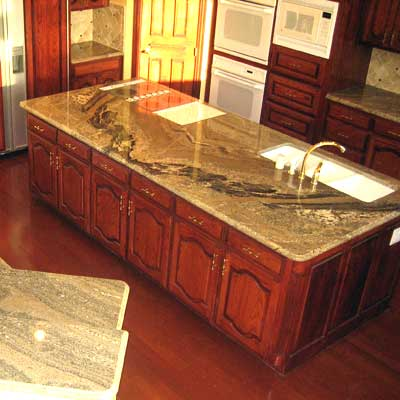 Bookmatched Granite Slabs on an island.