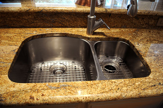 70/30 Undermount Sink with Yellow River Granite Countertops