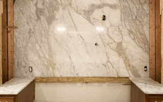 Calacatta Arabescato Marble Full Height Backsplash