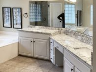 Gorgeous White Ice Granite Multi-Level Master Bath Vanity Tops